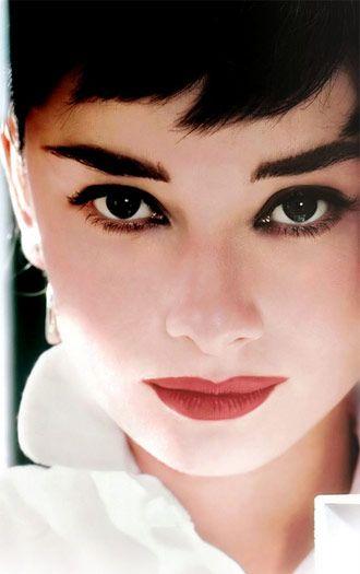Audrey Hepburn wearing a classic make-up look.