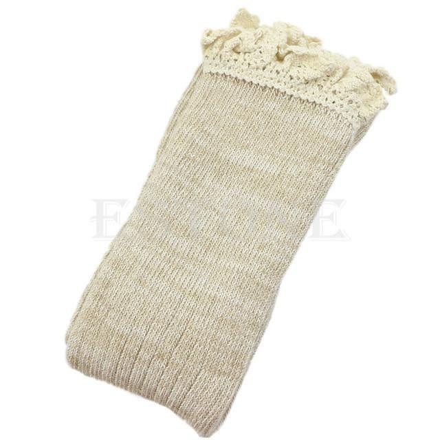 Women Lace Knee High Knit Flat Down Crochet Lace Trim Leg Warmers ...