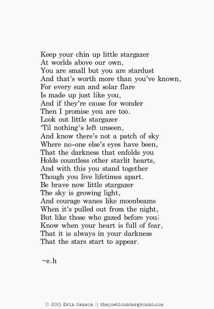 Little Stargazer.  August 22nd 2015.  The poetic underground