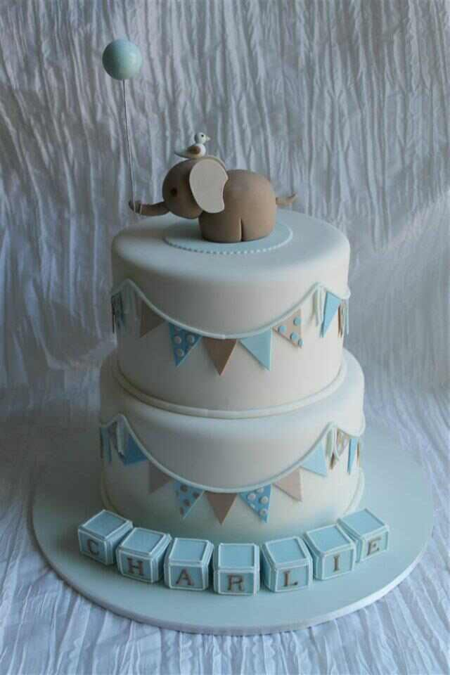 Images Of Newborn Baby Boy Cake : Except with a bear instead of an elephant Cakes ...