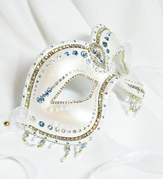 Pearl White and Blue Mask - Venetian Mask - Masquerade Ball Mask - Pearl Mask - Wedding Mask - Paper Mache Mask - Crystal Mask - Enchantress