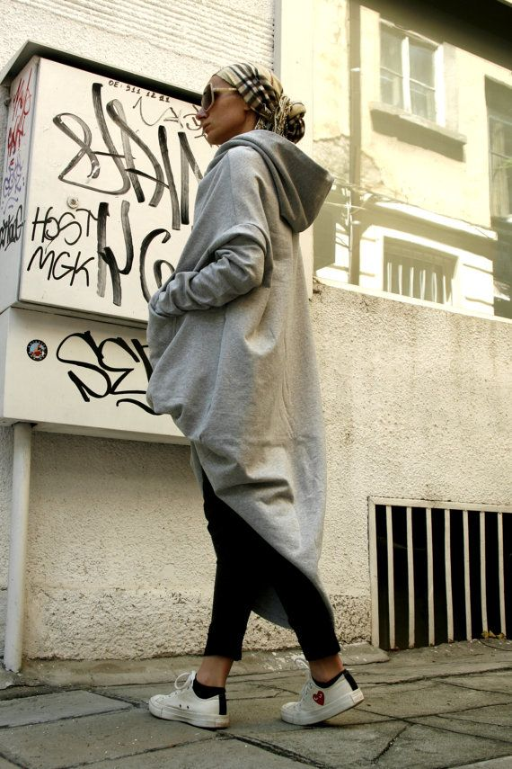 Grey Extravarant Maxi Asymmetric Hoodie / Quilted by Aakasha