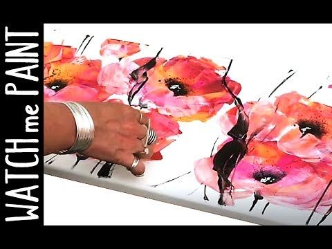 VideoTuto – Acrylic painting, time lapse shot – abstract painting – acrylic malen – floral design by zAcheR-fineT #abstract …