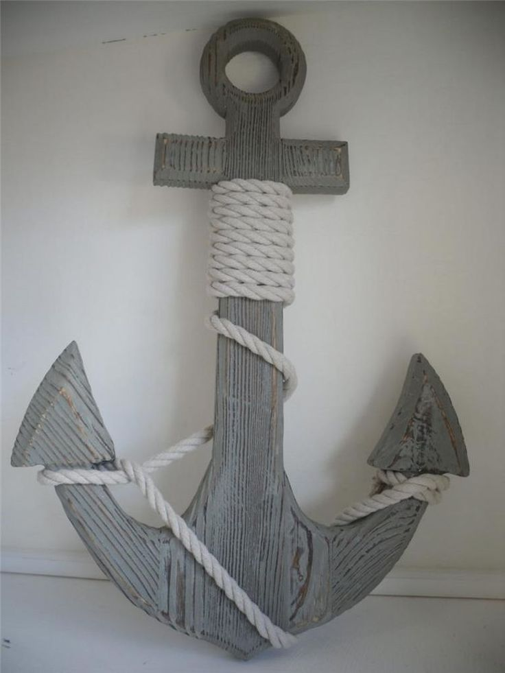 New Large Wooden Anchor Beach Nautical Bathroom Kitchen Seaside Boat Rope Grey