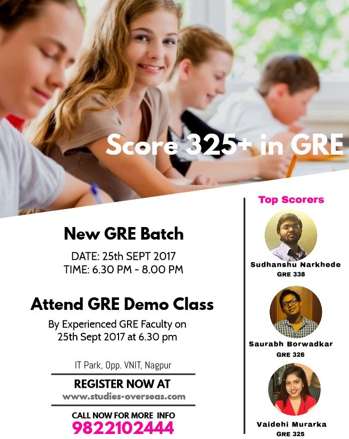 Join GRE Coaching at Krishna Consultants #Nagpur from 25th Sept 2017  Why Krishna Consultants? Expert Faculty Computer Adaptive #Mock tests for a practical GRE experience Extensive practice worksheets to supplement classroom teaching Customized 110 hours of comprehensive #coaching to master each and every concept of #GRE   Register Here:  http://www.studies-overseas.com/landing-page/gre-coaching.html