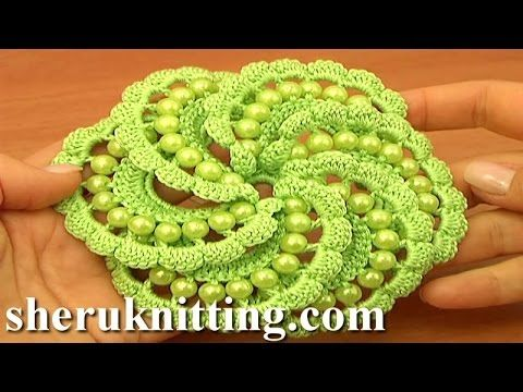 Crochet Spiral Flower With Beads Tutorial 103 - YouTube