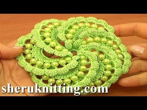 Irish Crochet Double Layered Flower Tutorial 19 - YouTube