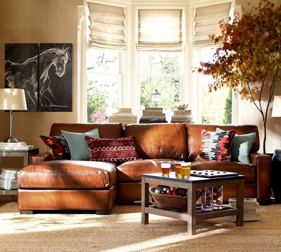 legacy chocolate tree canvas pottery and leather sectionals