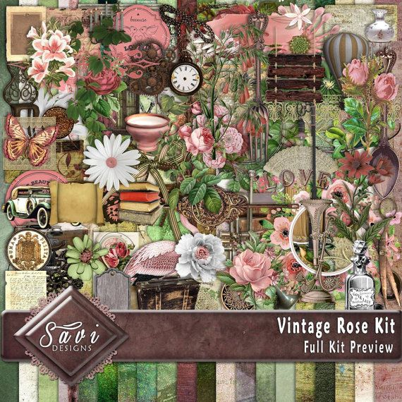 Digital Scrapbooking Kit Vintage Rose Roses, foliage, suitable for vintage and modern Scrap Pages in Pastel hues Not all Embellishments are displayed in the close Up views  Included in this kit 20 x BG Papers 89 x Embellishments