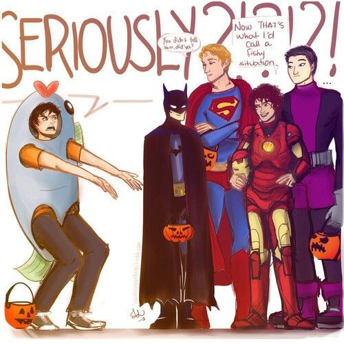 The boys from heroes of olympus. Nico is batman. Jason is ...