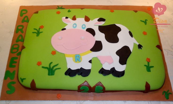 Farm, cow cake, 25th birthday, flower, green