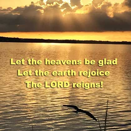 The LORD reigns, let the earth rejoice.. Psalm 97:1 ESV https://www.youtube.com/watch?v=vq-nuyHafkY