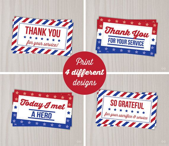 Veterans Day Thank You Cards, Military Thank You for your Service, Red White Blue, Gift Tags, PIF, Random act of Kindness