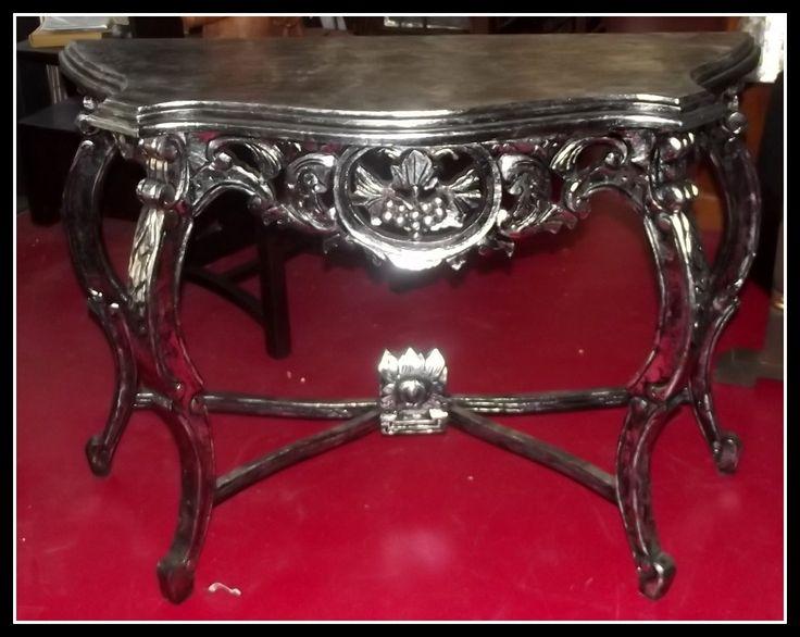 Console in legno. Intarsiata stile Barocco, Misure: cm 110Lx40Px80h ...