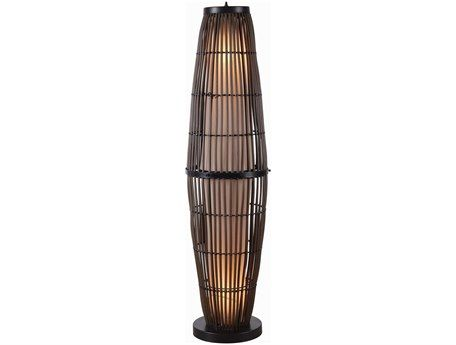 Kenroy Home Biscayne Rattan with Bronze Accents Two-Light Outdoor Floor Lamp
