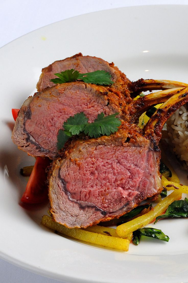 In Alfred Prasad's roast lamb recipe, the lamb rack is served with a brilliant mushroom pulao and savoury matchstick potatoes. Pulao is a South-Asian rice dish, also known as pilaf, and is made with fragrant basmati, piquant cumin and fresh coriander leaves. Ask your butcher to French-trim the lamb for you.