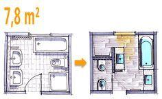 Badplanung Beispiel 7,8 qm Modernes Komplettbad mit Funktionszonen