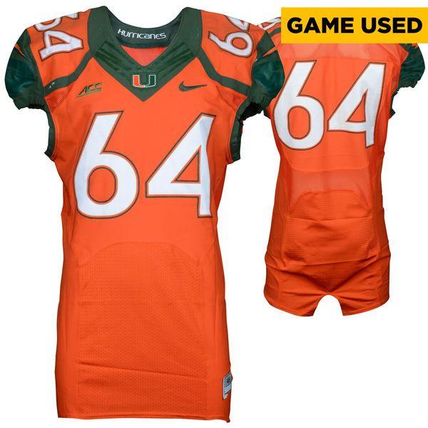 Miami Hurricanes Fanatics Authentic Game-Used 2014 Nike Orange Football  Jersey #64 - Size
