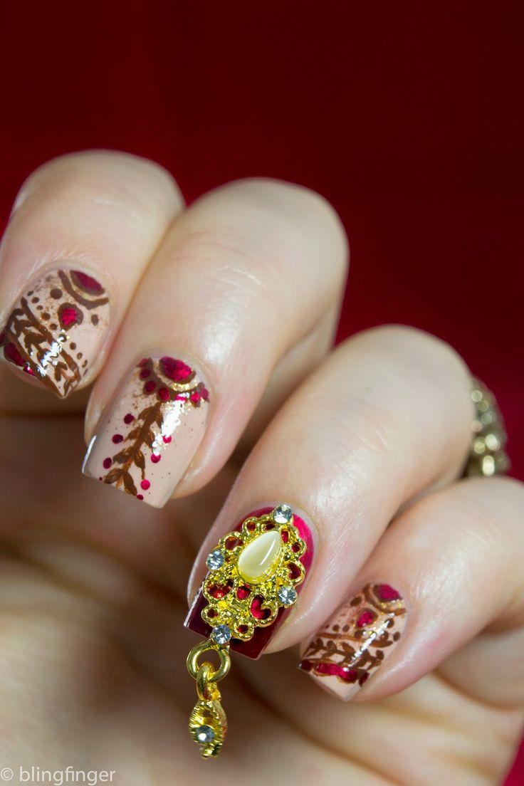 Indian Bridal Nails. http://www.blingfinger.net/2014/06/indian-bridal-nails.html