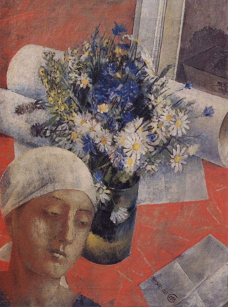 Kuzma Petrov-Vodkin: Still-Life with Woman's Head. 1921. State Russian Museum, St. Petersburg. Russia.