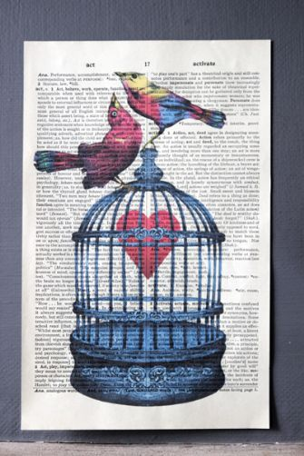 Love Birds and HeartAntiques Book, Buy, Gift Ideas, Paper Prints, Birds Heart, Valentine Gift, Unframed, Antique Books, Book Paper