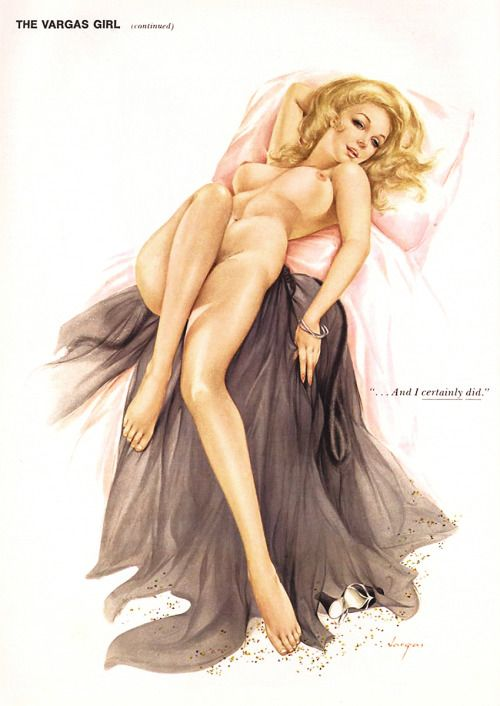 """20th-century-man:  """"I've been asked to a New Year's Eve party that's come-as-you-are…"""" """"…And I certainly did.""""  Alberto Vargas / Playboy, January 1974."""