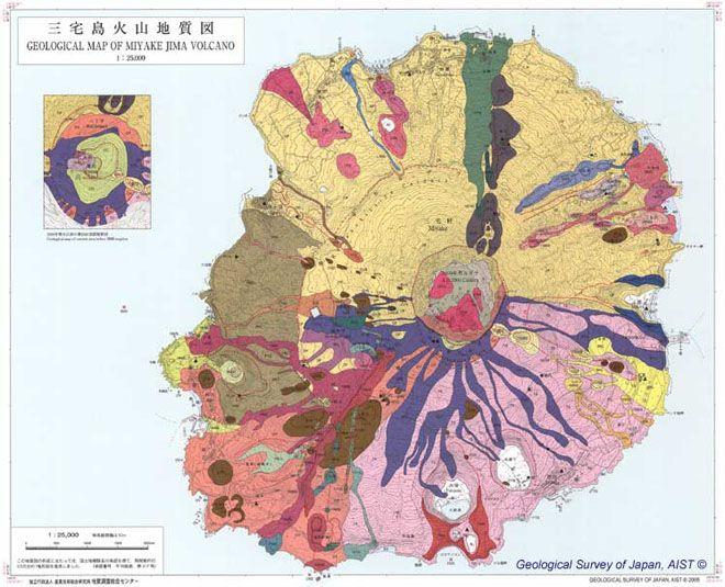 11 gorgeous geological maps of volcanos: Geology Survey, Miyake Jima, Cartography Catharsi, Volcanoes Maps, Things Maps, Jima Volcanoes, Geology Maps, Beautiful Maps, Japan Volcanoes