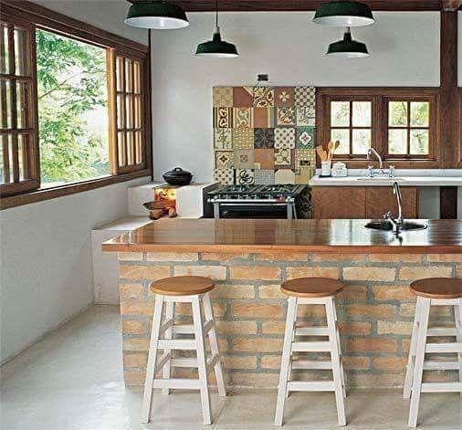 Cocina Con Barra Cocina Con Paredes De Ladrillo Decoracion Casas De Campo Cocinas De Casa