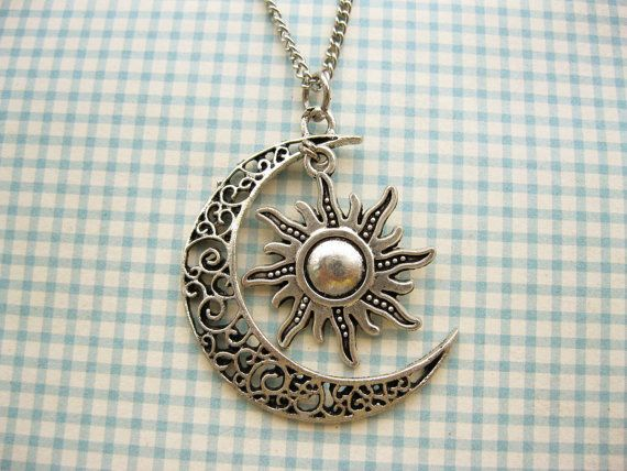Moon And Sun Necklace Rescent Moon Necklace Sun Jewelry Pendant Necklace BFF Graduation Gift on Etsy, $4.50