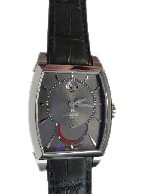 Men`s stainless steel Perrelet power reserve with date wristwatch, ref #A1017.   http://www.liveauctioneers.com/item/25627350_mens-stainless-steel-perrelet-power-reserve-date-watch