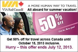 Travel: All aboard for summer vacation - Huge discount - adult Regular fare (this offer ends July 12, 2013) http://www.groupvaudreuil.com/all-deals/travel-all-aboard-for-summer-vacation