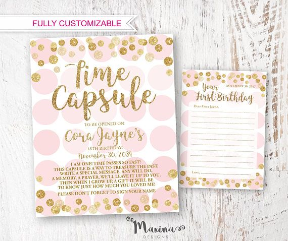 Kit Karte.Time Capsule Kit First Birthday Girl Time Capsule Sign And Note