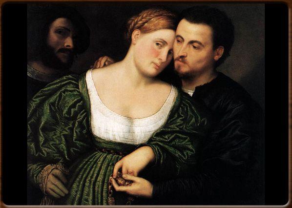 Venetian lovers. Palma il Vecchio,  1525-30, Pinacoteca di Brera, Milano.