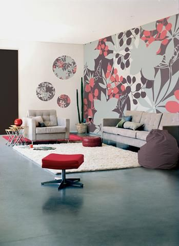 Sketch of Amazing Interior Design with Retro Wallpaper Wide Selection