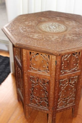Lot # : 6 - Stunning octagonal hand carved occasional table