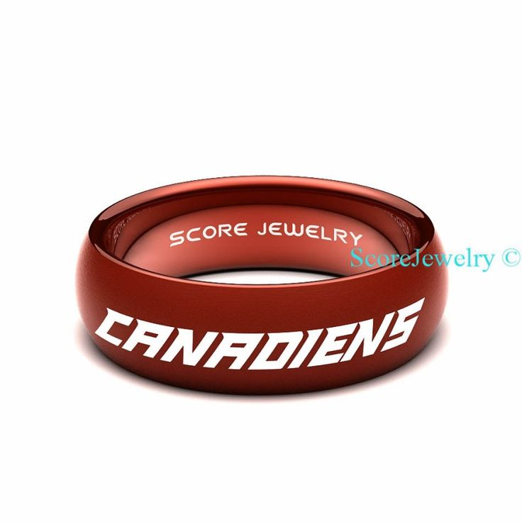 Red Tungsten Band Ring Mens Womens Ring NHL Hockey Montreal Canadiens Ring Birthday Anniversary Gift