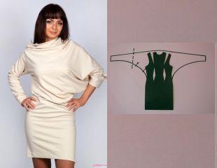 Платье с драпировкой (перекошенный крой)