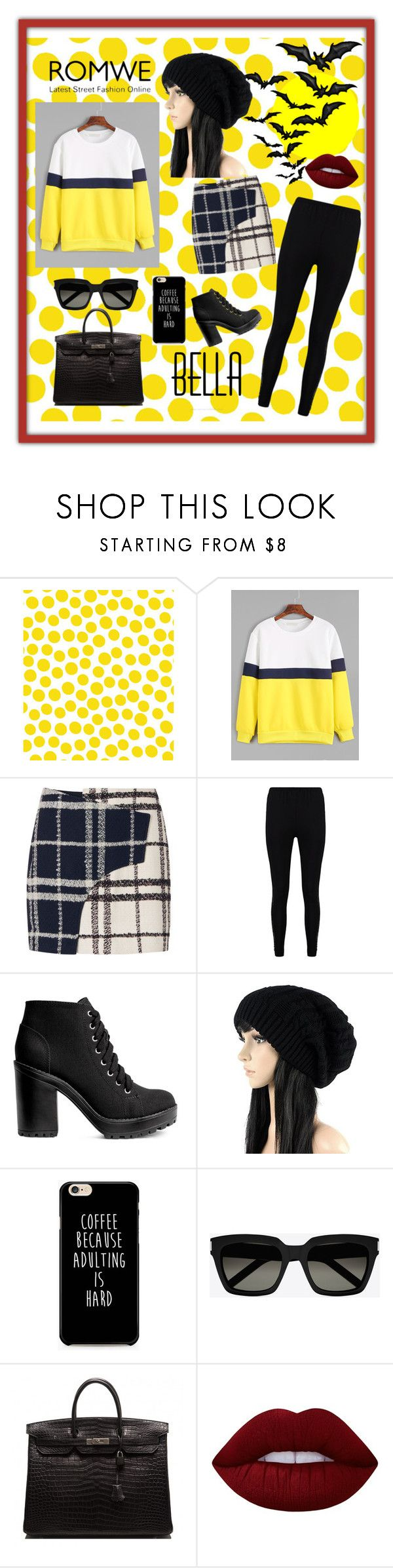 """""""With ROMWE"""" by explorer-14673103603 on Polyvore featuring Jennifer Paganelli, 10 Crosby Derek Lam, Boohoo, H&M, Yves Saint Laurent, Hermès and Lime Crime"""