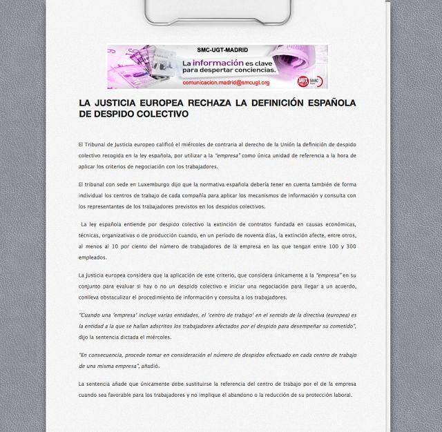 REDACCIÓN SINDICAL MADRID: LA JUSTICIA EUROPEA RECHAZA LA DEFINICIÓN ESPAÑOLA...