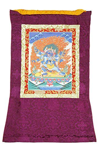 ShalinIndia Thangka Painting Mandala Buddhist Wall Dcor Tibetan Tapestry Silk Canvas Scroll Art 34 X 22 Inches >>> Want additional info? Click on the image.