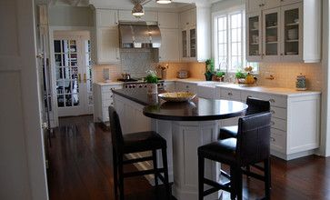 kitchen center island with round table at end   Wood ...