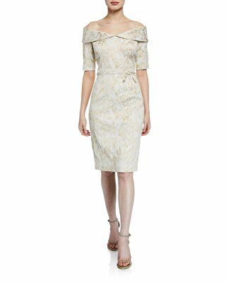197d5ec7766 Rickie Freeman for Teri Jon Designer Off-the-Shoulder Short-Sleeve Metallic  Stretch Jacquard Sheath Dress