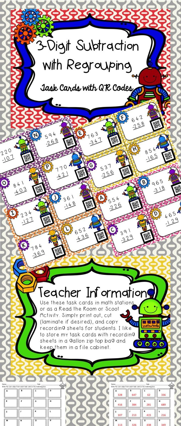 This cute robot themed subtraction activity with QR codes will motivate and excite your students. There are 16 three digit subtraction (with regrouping) task cards and a recording sheet. Each task card includes a QR code so students can check their answers. The recording sheets have room for students to write the problem and show their work. When scanned with a device equipped with a QR code reader app, the QR code will reveal the answer to each problem.