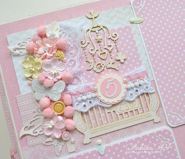 Скрапбукинг девчачья открытка
