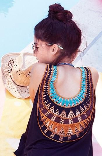 Embroidered back tank