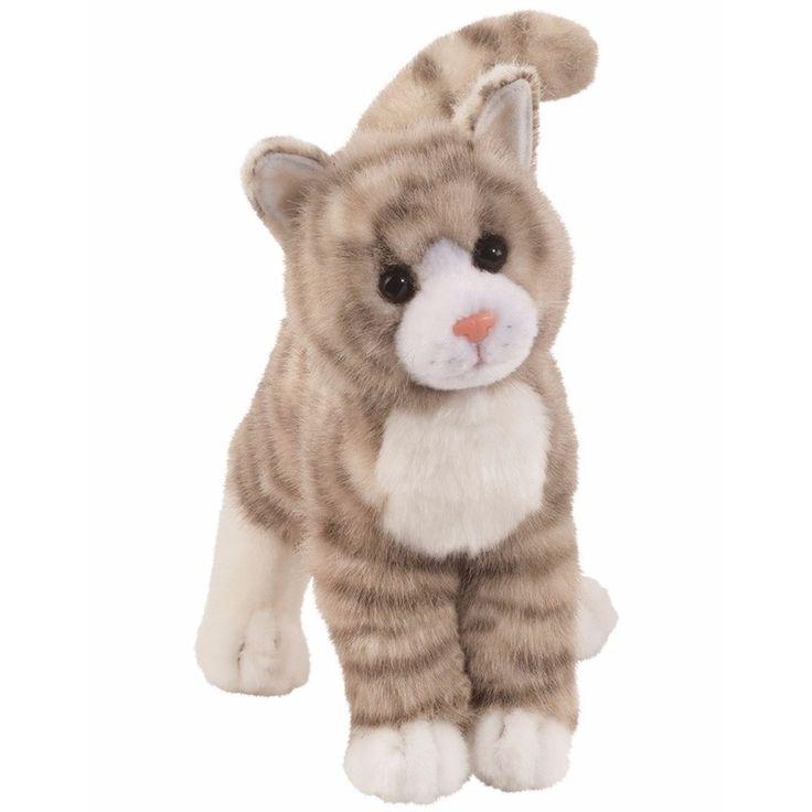 Cyperse kat knuffel grijs 30 cm. Pluche cyperse kat luxe knuffel met grijze strepen en witte sokjes. De knuffel is ongeveer 30 cm lang.