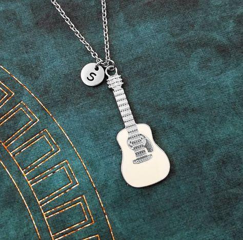 Guitarra collar blanco guitarra joyería chica por MetalSpeak
