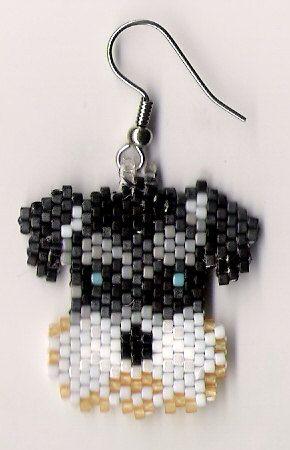 Hand beaded sweet little Schnauzer dog head dangle by jjsims43