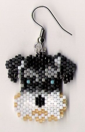 Hand beaded sweet little Schnauzer dog head dangle earrings