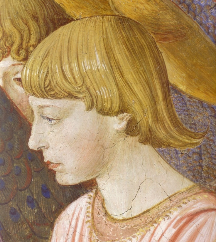 BENOZZO GOZZOLI (1421 - 1497) - Angels Worshiping (detail). 1459-1461. Fresco. Right side of the chancel, Palazzo Medici-Riccardi, Florence, Italy.